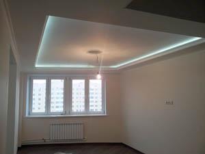 Отделка комнаты: стены, потолки с подсветкой