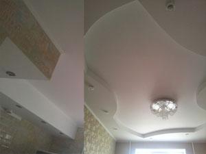 Ажурные объемные потолки  (2-ва уровня со встроенными светильниками)