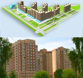 3D модель микрорайона и фото Гагаринского