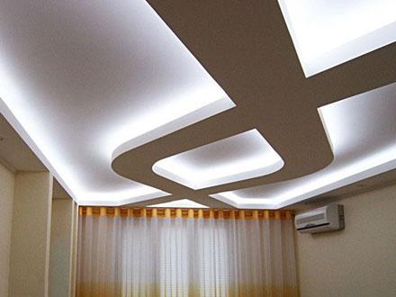 белая светодиодная подсветка натяжного потолка